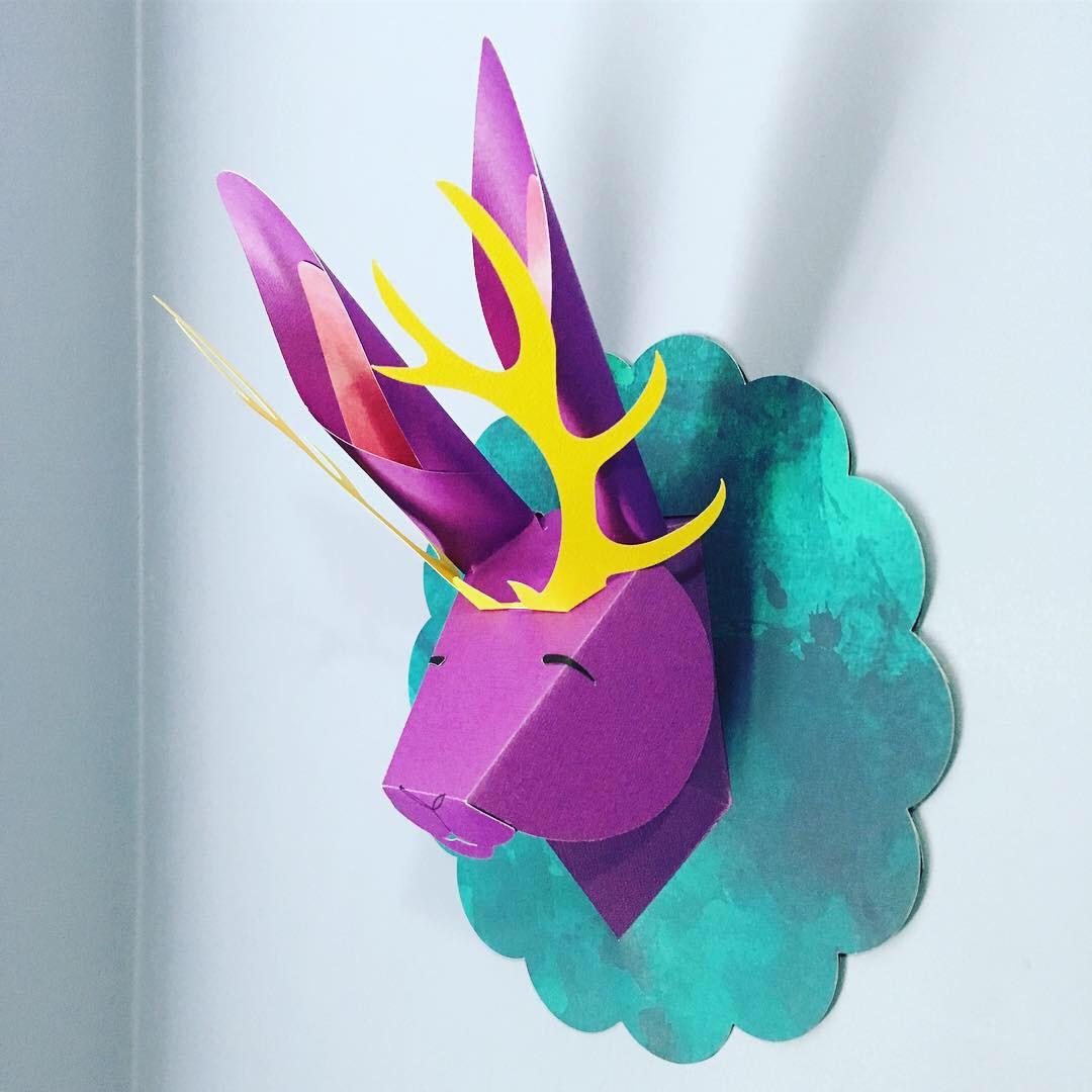 Jackalope Papercut Headbust