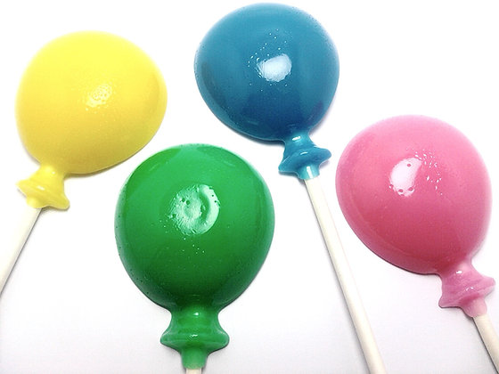 12 OPAQUE(SOLID) BALLOON LOLLIPOPS