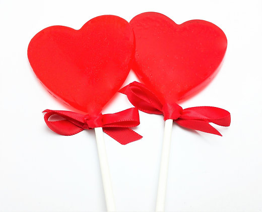 """12 - 2.5"""" LARGE HEART LOLLIPOPS with SATIN RIBBON"""