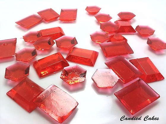 250 EDIBLE RED SUGAR JEWELS
