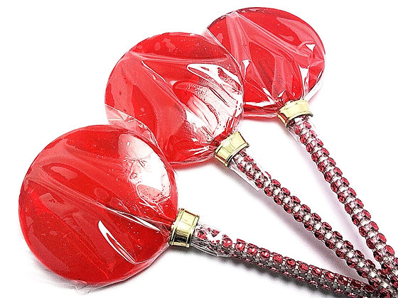 """12 - 2.5"""" RED LOLLIPOPS WITH BLING STICKS"""