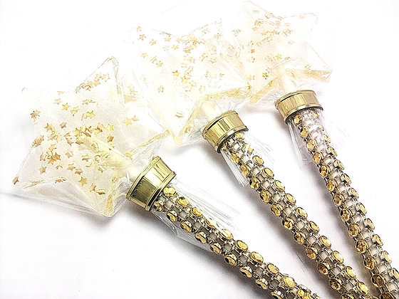 10 STAR WANDS w/GOLD EDIBLE STARS and BLING STICKS
