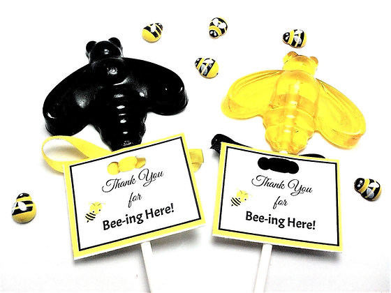 12 BUMBLE BEE LOLLIPOPS with PERSONALIZED TAGS