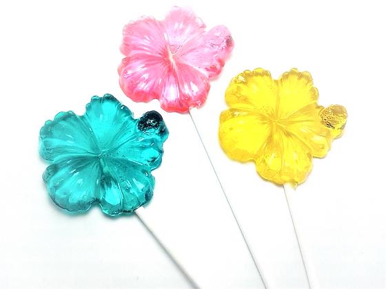 12 LARGE HIBISCUS FLOWER LOLLIPOPS