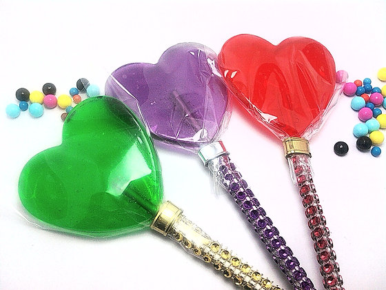 """12 - 2.5"""" LARGE HEART LOLLIPOPS - ANY COLOR"""