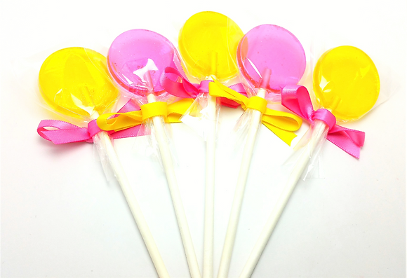 "12 FUN POP LOLLIPOPS 1.5"" with SATIN RIBBON"