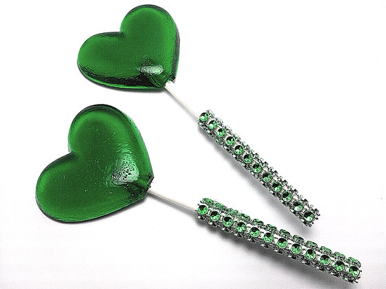 """12 - 2"""" GREEN HEART LOLLIPOPS - ANY COLOR"""