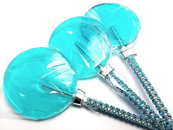 """12 - 2.5"""" TURQUOISE LOLLIPOPS WITH BLING STICKS"""