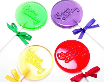 12 HAPPY BIRTHDAY LOLLIPOPS w/RIBBON