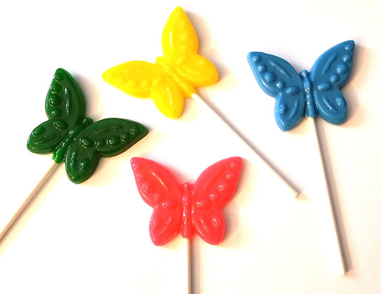 12 SOLID BUTTERFLY LOLLIPOPS
