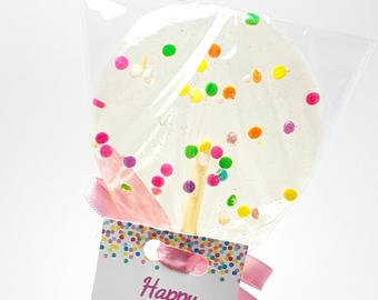 12 PASTEL CONFETTI LOLLIPOPS with PERSONALIZED TAGS