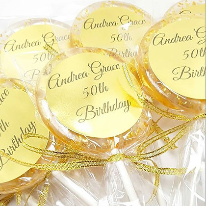 "12 - 2 1/2"" LOLLIPOPS w/CRYSTALS, RIBBON, LABELS"