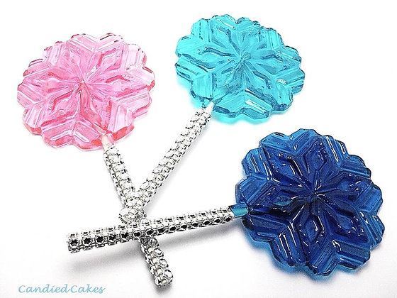 "12 SNOWFLAKE ""FROZEN THEME"" LOLLIPOP FAVORS"