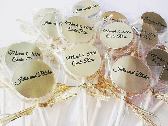 "12- 1 1/2"" LOLLIES w/GOLD CRYSTALS, RIBBON, LABELS"
