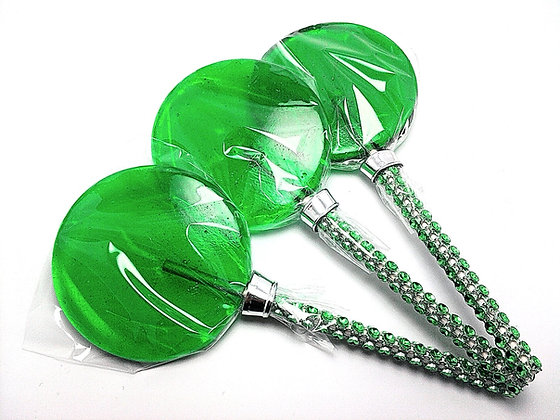 "12 - 2.5"" GREEN LOLLIPOPS WITH BLING STICKS"