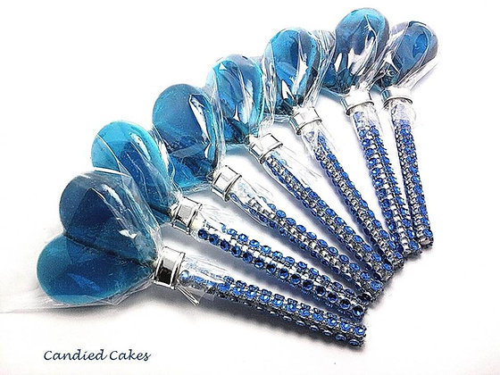 "12 - 2"" BLUE HEART LOLLIPOPS - ANY COLOR"