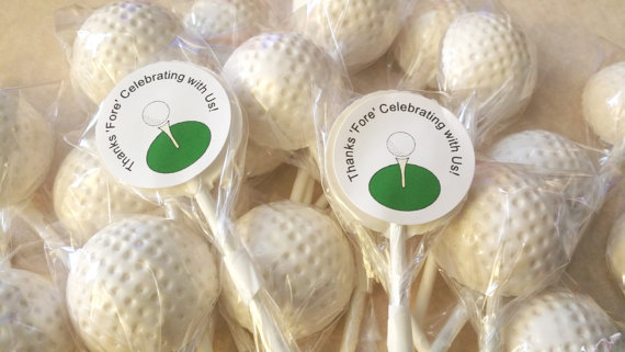 10 GOLF BALL LOLLIPOPS w/FREE PERSONALIZED LABELS