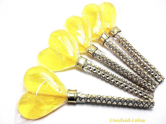 "12 - 2"" YELLOW HEART LOLLIPOPS - ANY COLOR"