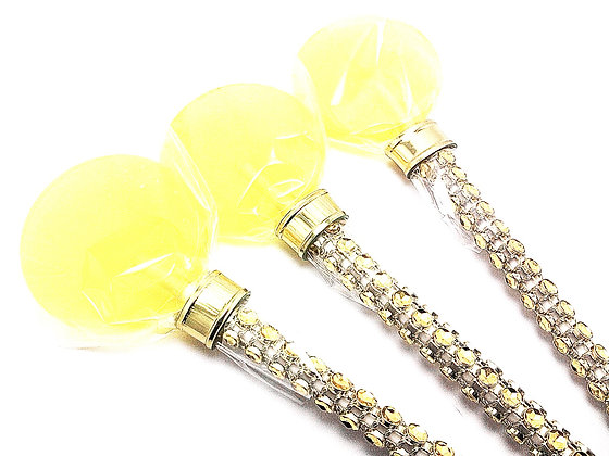 "12 - 1.5"" YELLOW LOLLIPOPS WITH BLING STICKS"