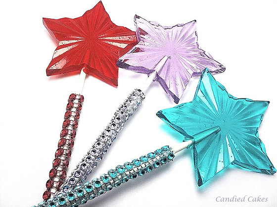 "12 LARGE RADIANT STAR LOLLIPOPS - ON 6"" STICKS"