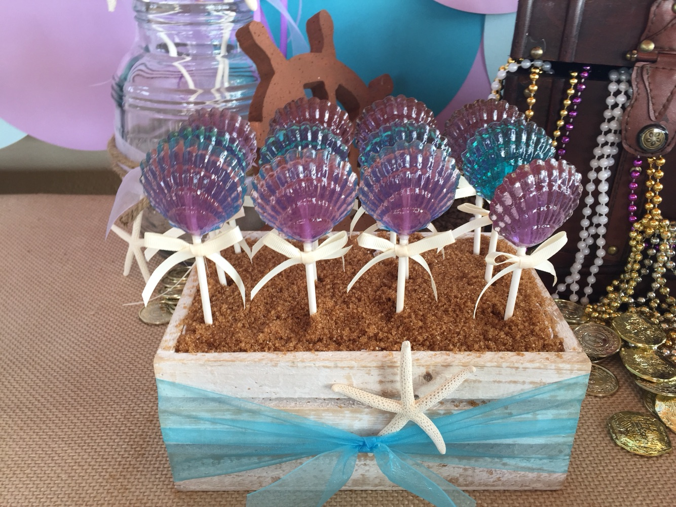 LAVENDER & TURQUOISE CLAM SHELLS