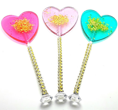 "12 - 2.5"" LARGE HEART LOLLIPOPS with GOLD GLITTER and DIAMOND BLING STICKS"