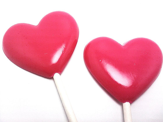 "12 - 2"" OPAQUE HEART LOLLIPOPS - ANY COLOR"