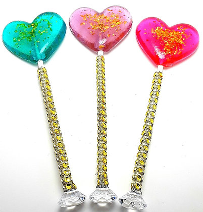 "12- 2"" LARGE HEART LOLLIPOPS with GOLD GLITTER and DIAMOND BLING STICKS"