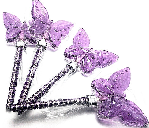 12 BUTTERFLY LOLLIPOPS WITH BLING STICKS