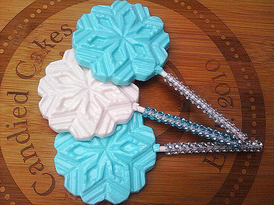 "12 OPAQUE SNOWFLAKE ""FROZEN THEME"" LOLLIPOP FAVORS"