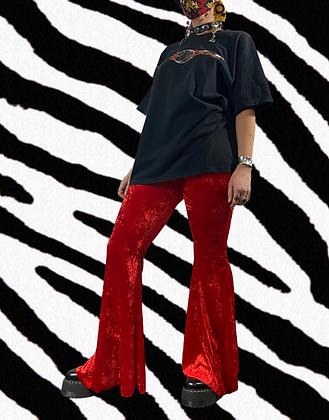 Lady in red | handmade velvet flares
