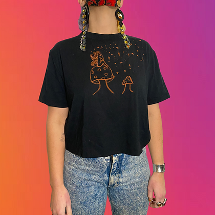 Dont annoy the locals collab   Handmade bamboo cropped T-shirt