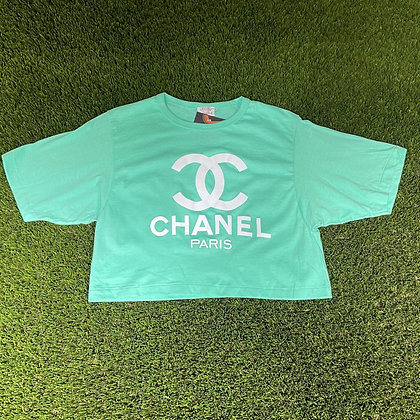Cigarettes and coffee | Bootleg mint green Chanel cropped t-shirt