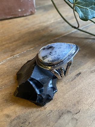 Dentritc agate Ring by Silversmith Spirit