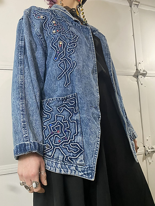In a maze | 90's embellished denim jacket