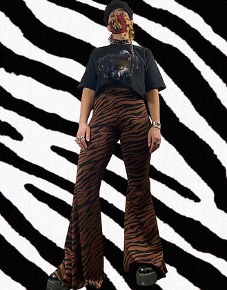 Led Zebra   handmade velvet flares