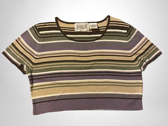 Jess | Vintage 90's striped cropped T-shirt