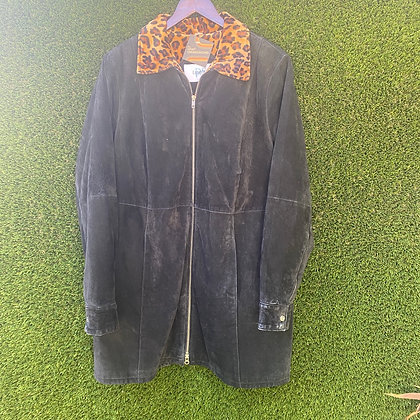 Big kitty | 80's style suede jacket with leopard print collar