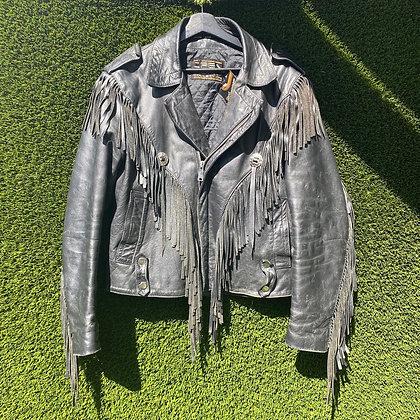 Bad to the bone   vintage fringed leather jacket