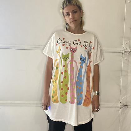 Crazy | Vintage cat t-shirt