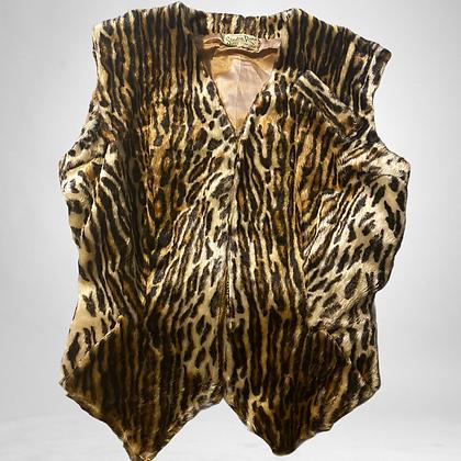 80's Faux fur animal print vest