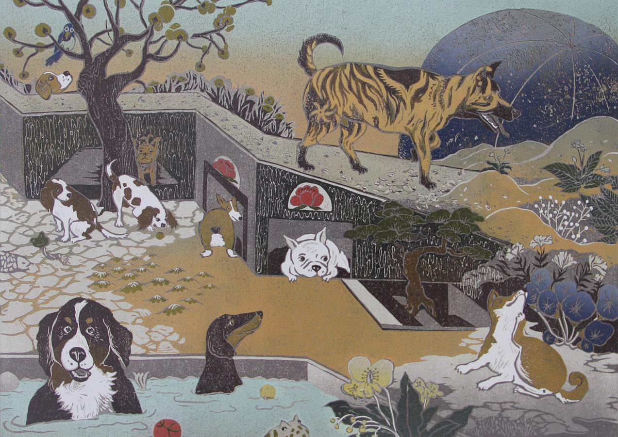 台灣得獎版畫家作品《汪星球10犬10美》