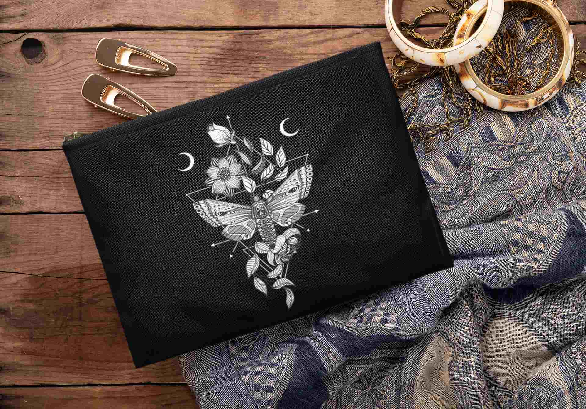 Death Moth tarot pouch. Goth Girl bag. Witch clothing accessories.