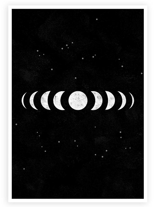 Printable Moon Phases wall art. Gothic and Modern Witch home decor. Alternative, Grunge, Goth aesthetic.