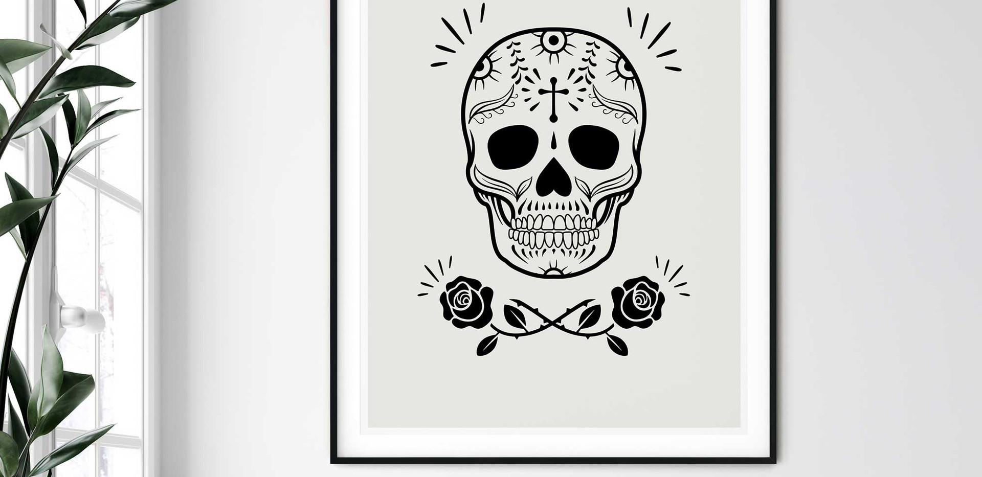 Sugar Skull With Roses • Wall Art