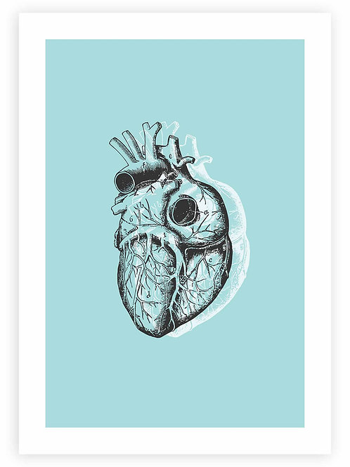 Anatomical Heart PRINTABLE WALL ART in pastel blue. Minimalistic Pastel Goth home decor.