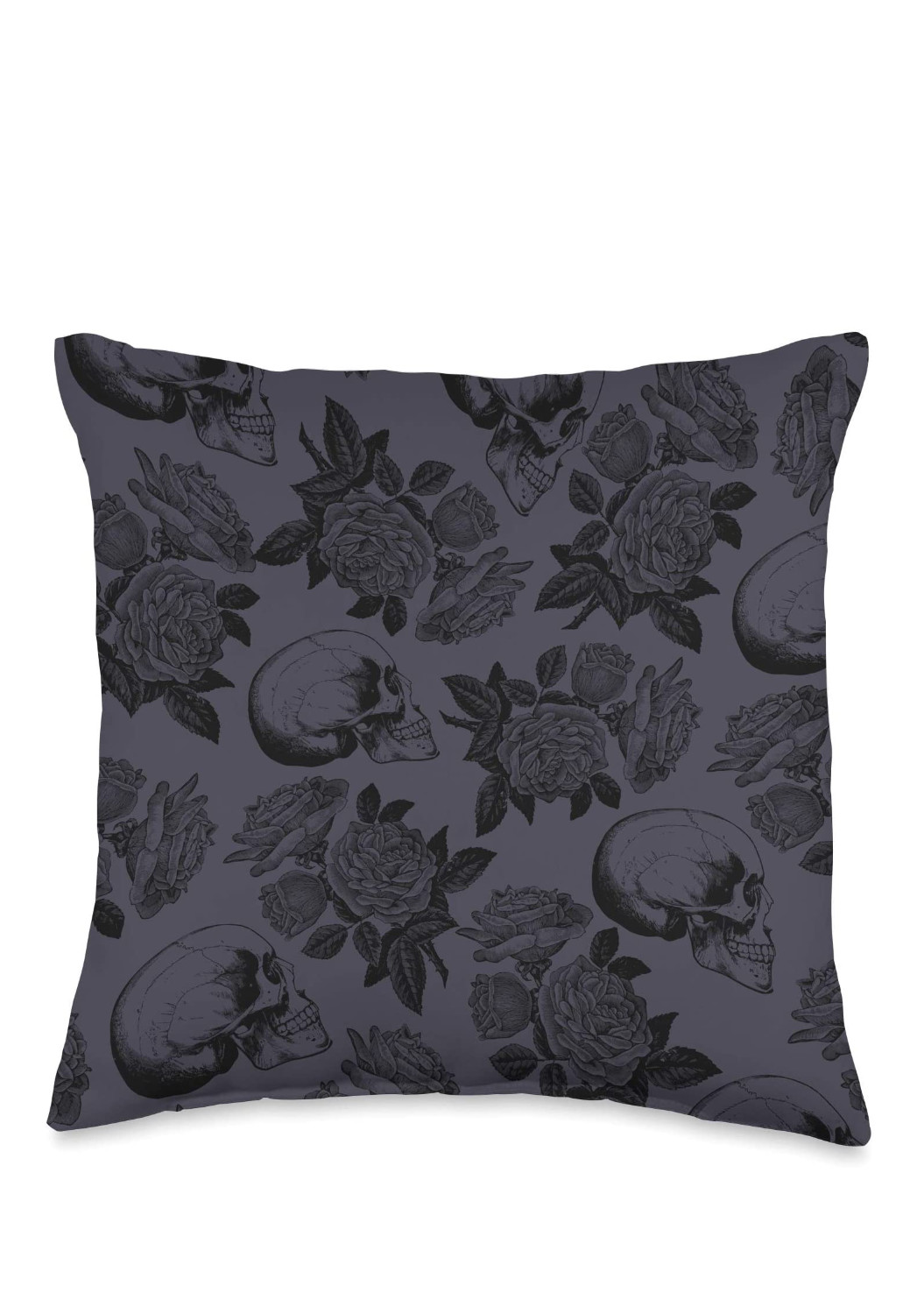 Skulls & Roses Throw Pillow