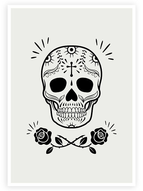Mexican Sugar Skull wall art. Day of the dead home decor for your Gothic home.