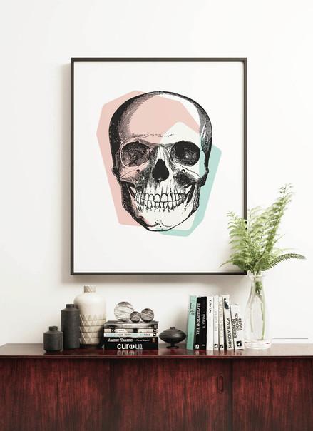 Skull Wall Art | Pastel Pink & Blue
