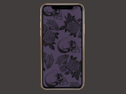 Skulls & Roses Phone Wallpaper